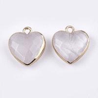Guldfärgad berlock hjärta bergkristall, 1 st