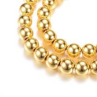 Guldfärgad hematit runda 4 mm, 1 sträng