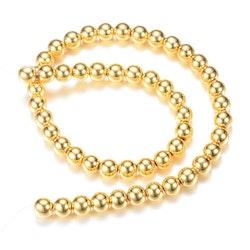 Guldfärgad hematit runda 6 mm, 1 sträng