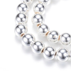 Silverfärgad hematit runda 6 mm, 1 sträng