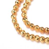 Guldfärgad hematit facetterade 8 mm, 10 st