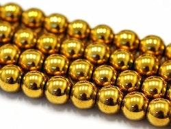Antikt guldfärgad hematit runda 8 mm, 10 st