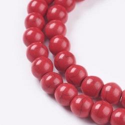Howlite 4 mm röd, 1 sträng