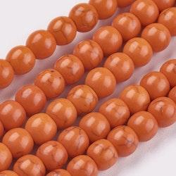 Howlite 4 mm orange, 1 sträng