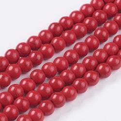 Howlite 6 mm röd, 1 sträng