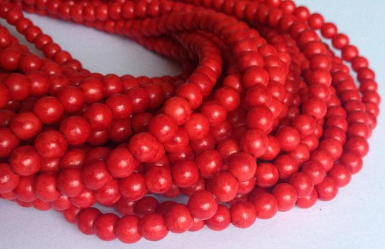 Howlite 8 mm röd, 1 sträng