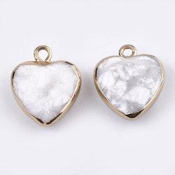 Guldfärgad berlock hjärta howlite, 1 st