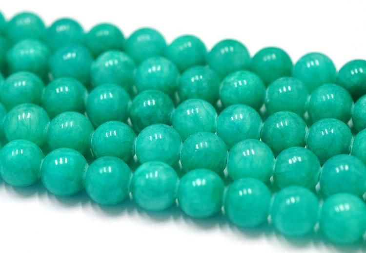 Jade 4 mm blågrön, 1 sträng