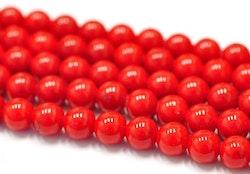 Jade 6 mm röd, 10 strängar