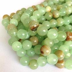 Jade 8 mm grönmelerade, 10 strängar