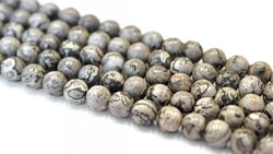 Jaspis gråmelerade 8 mm, 1 sträng
