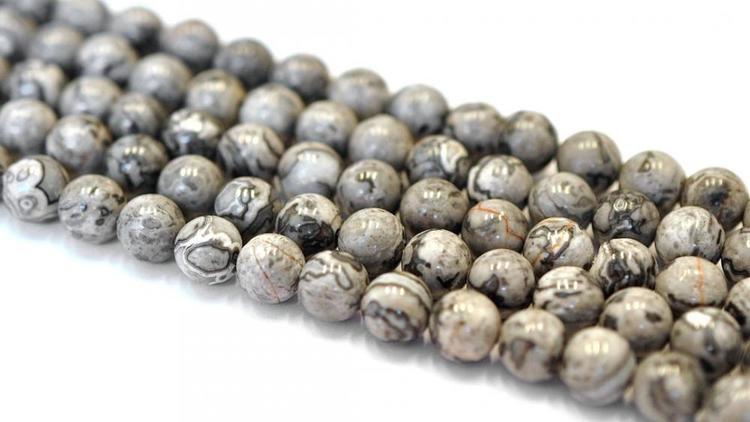Jaspis gråmelerade 6 mm, 1 sträng