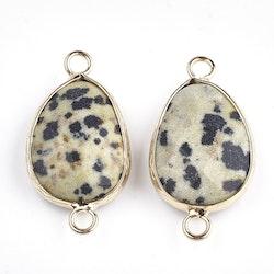 Guldfärgad connector dalmatiner jaspis, 1 st