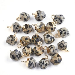 Guldfärgad facetterad berlock dalmatiner jaspis, 1 st
