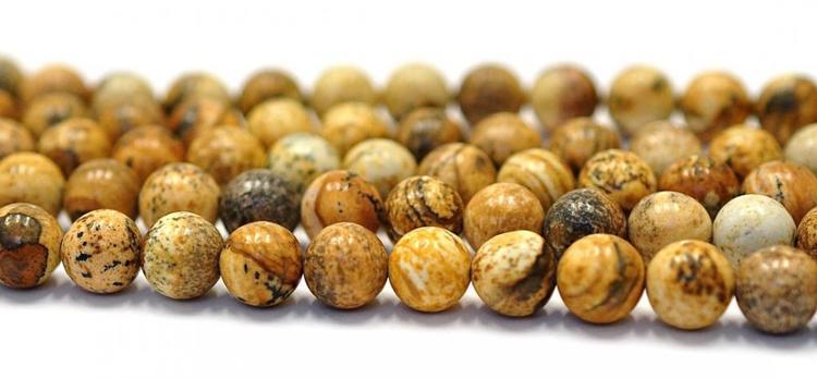Jaspis gul/bruna 8 mm, 1 sträng
