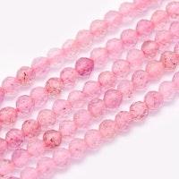 Facetterad jordgubbskvarts 3 mm, 1 sträng