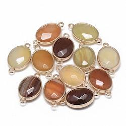 Guldfärgad connector karneol, 1 st