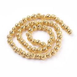 Lavapärlor guld 8 mm, 1 sträng