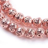 Lavapärlor rosé 6 mm, 1 sträng