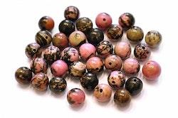Rodonit rosa/svartmelerad 6 mm, 1 sträng