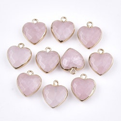 Guldfärgad berlock hjärta rosenkvarts, 1 st