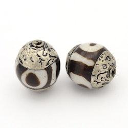 Tibetansk DZI stor pärla, 1 st