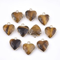 Guldfärgad berlock hjärta tigeröga, 1 st