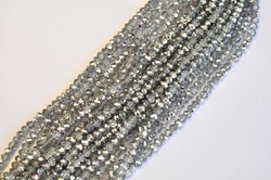 Facetterade abacus 4x3 mm silver/glas, 1 sträng