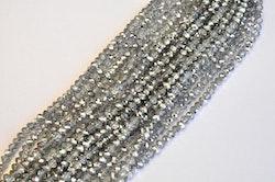 Facetterade abacus 6x4 mm silver/glas, 1 sträng