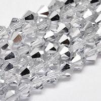 Bicone 4 mm silver/glas, 1 sträng