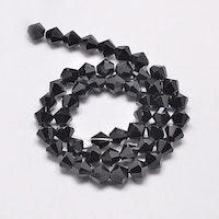 Bicone 4 mm svart, 1 sträng