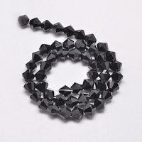 Bicone 6 mm svart, 1 sträng