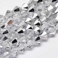 Bicone 6 mm silver/glas, 1 sträng
