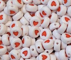 Vita akrylpärlor med hjärta, 20 st