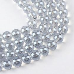 Glaspärlor 6 mm isblå, 1 sträng