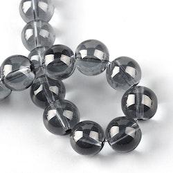 Glaspärlor 4 mm mörkgrå, 1 sträng