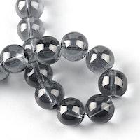 Glaspärlor 6 mm mörkgrå, 1 sträng