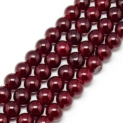 Glaspärlor 8 mm vinröda, 1 sträng