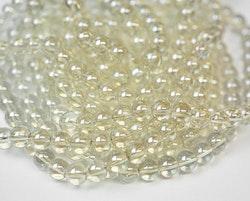 Glaspärlor 8 mm ljust guld, 1 sträng