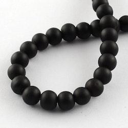 Gummipärlor 6 mm svart, 1 sträng