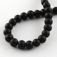 Gummipärlor 4 mm svarta,  sträng