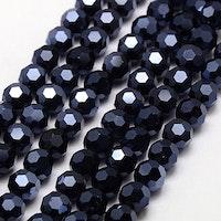 Facetterade glaspärlor 6 mm svarta glittriga, 1 sträng