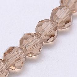 Facetterade glaspärlor 4 mm beige/guld, 1 sträng