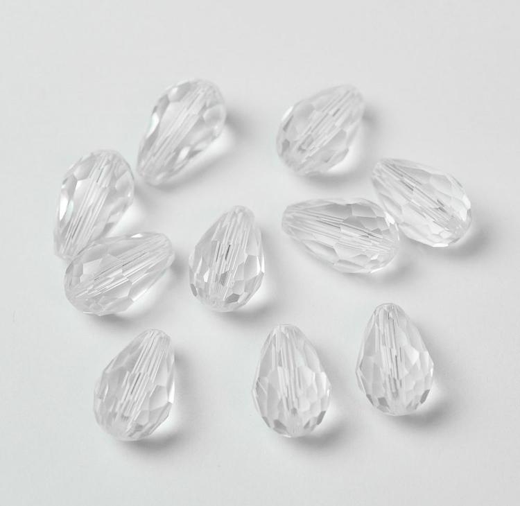Facetterade glasdroppar glas 15 mm, 10 st