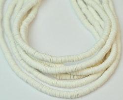 Heishi pärlor vit, 1 sträng