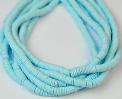 Heishi pärlor ljusblå, 1 sträng