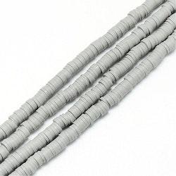 Heishi pärlor ljusgrå, 1 sträng