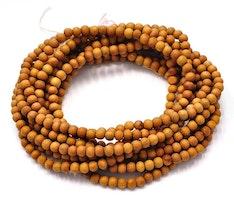 Sandalwood 4 mm ljusbrun, ca 200 pärlor