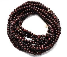 Sandalwood 8 mm mörkbrun, 108 pärlor