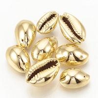 Guldfärgade snäckor med hål, 10 st